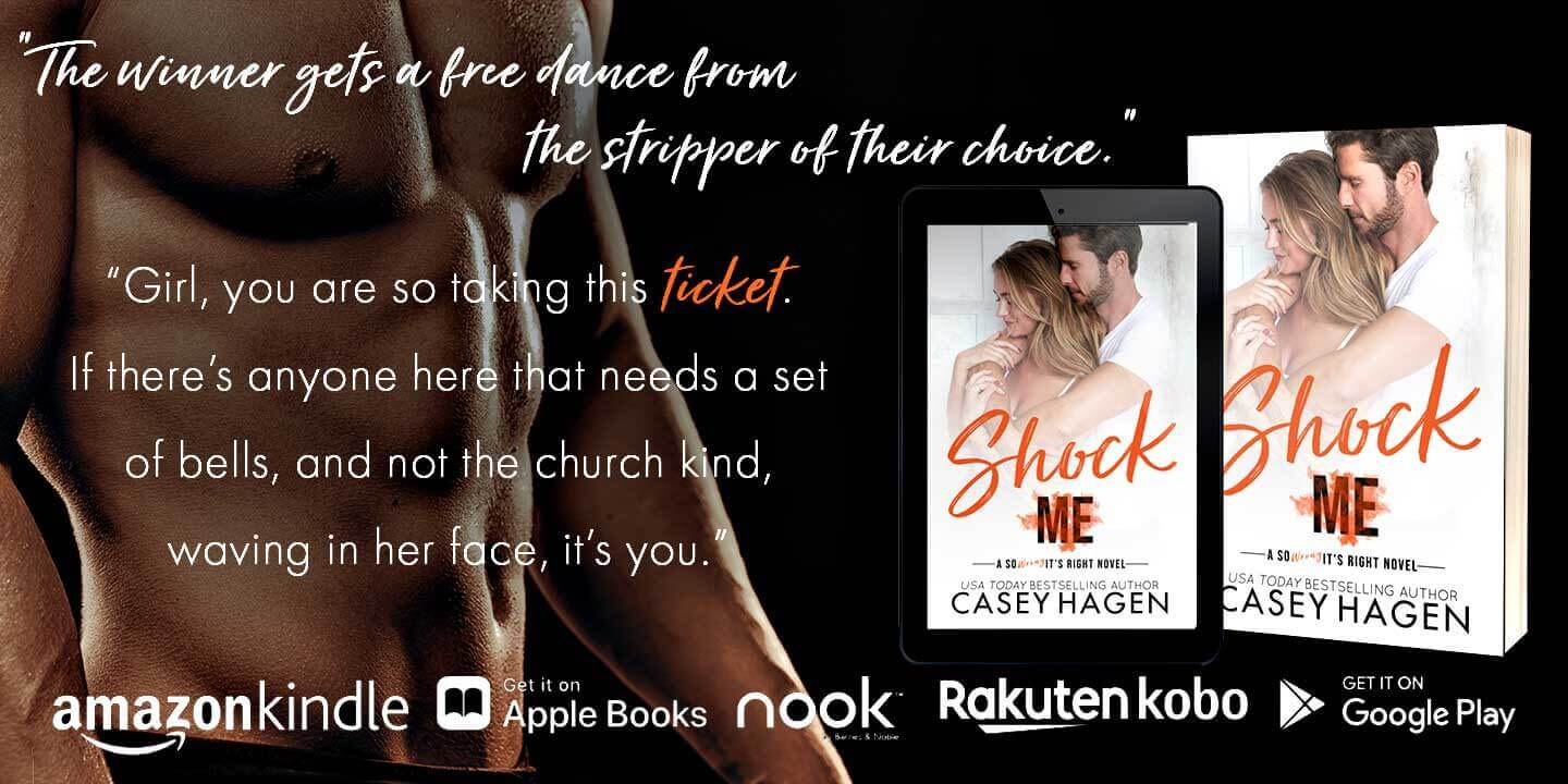 Ad for Casey Hagen book Shock Me available on all book platforms